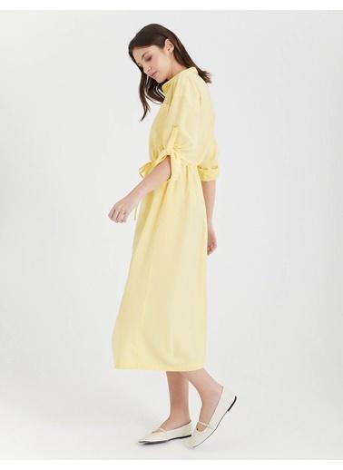 BGN Limon Rengi - Uzun Gömlek Elbise Sarı